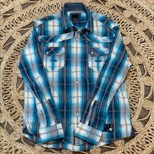 7 Diamonds Mens Plaid Dress Shirt XL